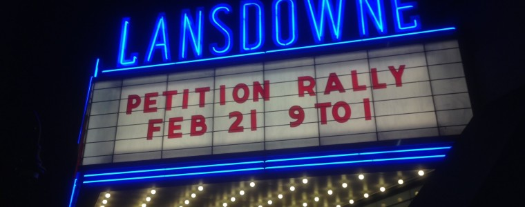 Lansdowne Theater Petition Marquee